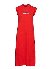 TJW LOGO TANK DRESS, - FLAME SCARLET