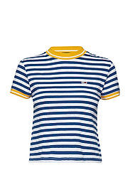 TJW STRIPE BABY TEE, - LIMOGES / CLASSIC WHITE