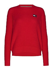 TJW TOMMY BADGE SWEATER - RACING RED
