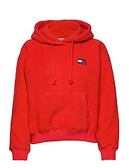 Tommy Jeans TJW TOMMY POLAR FLEECE HOODIE - RACING RED