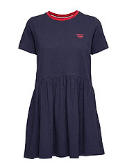 TJW CONTRAST BINDING TEE DRESS - TWILIGHT NAVY