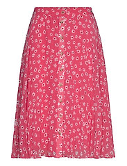 TJW PLEATED BUTTON THRU SKIRT - FLORAL PRINT / GLAMOUR PINK
