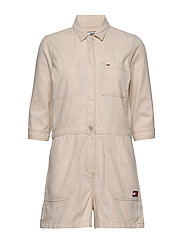 SHORT JUMPSUIT - PEYTON WHITE COTTON  LINEN