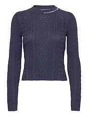 TJW BRANDED NECK CABLE SWEATER - TWILIGHT NAVY