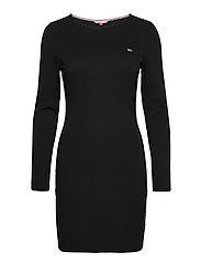 TJW TAPE DETAIL LONGSLEEVE DRESS - BLACK