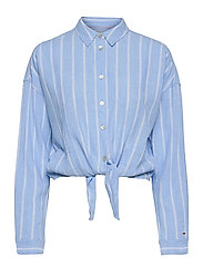 TJW RELAXED FRONT KNOT SHIRT - MODERATE BLUE / STRIPE