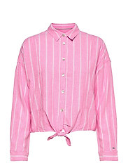 TJW RELAXED FRONT KNOT SHIRT - PINK DAISY / STRIPE