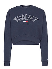 TJW CROP COLLEGE LOGO SWEATSHIRT - TWILIGHT NAVY