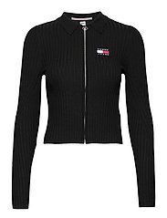 TJW ZIP THROUGH SWEATER - BLACK