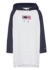 TJW TIMELESS FLAG HOODIE DRESS - WHITE / MULTI