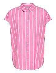 TJW RELAXED STRIPE SHIRT SS - PINK DAISY / WHITE