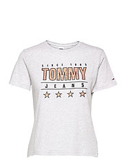 TJW  SLIM METALLIC TOMMY TEE - SILVER GREY HTR