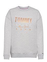 TJW METALLIC TOMMY SWEATSHIRT - SILVER GREY HTR