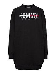 TJW LOGO SWEAT DRESS C - BLACK