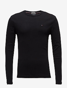 TJM ORIGINAL RIB LONGSLEEVE TEE - basic t-shirts - tommy black