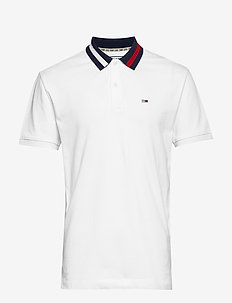 TJM FLAG NECK POLO - CLASSIC WHITE
