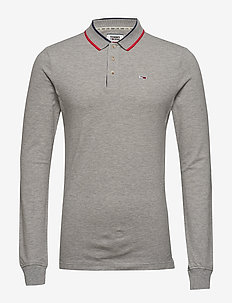 TJM STRETCH SLIM LONGSLEEVE POLO - LT GREY HTR