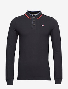 TJM STRETCH SLIM LONGSLEEVE POLO - TOMMY BLACK