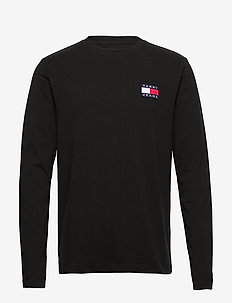 TJM TOMMY BADGE LONGSLEEVE TEE - basic t-shirts - black