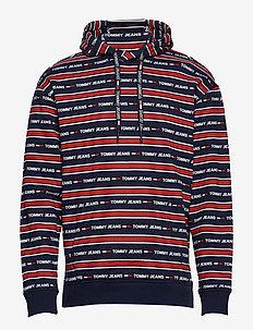 TJM BRANDED STRIPE HOODIE - basic sweatshirts - black iris/tj aop