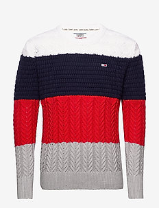 TJM COLORBLOCK SWEATER - rund hals - racing red / multi