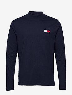 TJM MOCK NECK TEE - basic t-shirts - black iris