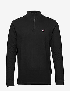 TJM BRUSHED ZIP NECK TEE - golfy - tommy black