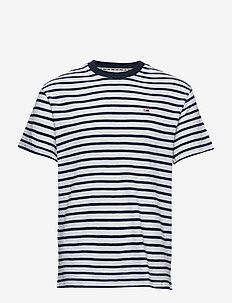 TJM TOMMY STRIPE TEE - korte mouwen - twilight navy / white