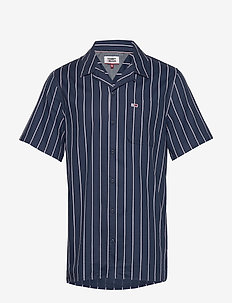 TJM PRINTED STRIPE CAMP SHIRT - kortærmede skjorter - twilight navy / multi