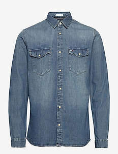 TJM WESTERN DENIM SHIRT - casual shirts - mid indigo