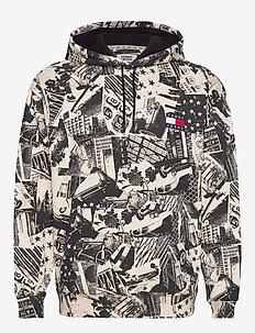 TJM ALLOVER PRINT BADGE HOODIE - hoodies - logo print / white