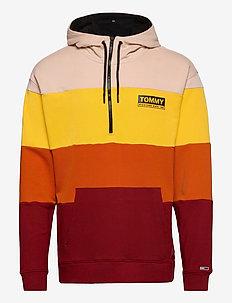 TJM HALF ZIP COLORBLOCK HOODIE - basic sweatshirts - wine red / multi