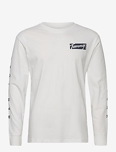TJM LONGSLEEVE SCRIPT BOX TEE - long-sleeved t-shirts - white