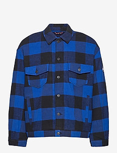 TJM PLAID TRUCKER JACKET - tops - providence blue check