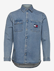 TJM DENIM BADGE SHIRT - casual overhemden - mid indigo / multi