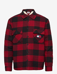 TJM SHERPA FLANNEL OVERSHIRT - tops - wine red / black
