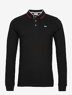 TJM STRETCH SLIM LONGSLEEVE POLO - langermede - black