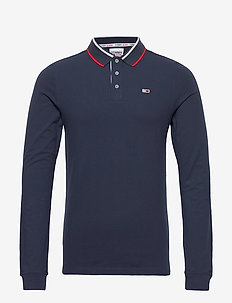 TJM STRETCH SLIM LONGSLEEVE POLO - długi rękaw - twilight navy 654-860