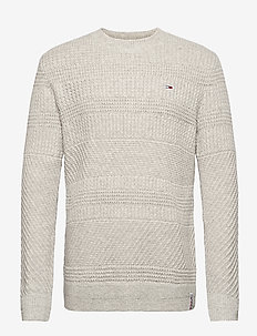 TJM GRAPHIC TAB SWEATER - basic-strickmode - silver grey htr