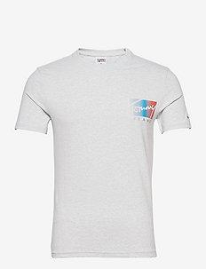 TJM SCRIPT BOX LOGO TEE - kortärmade t-shirts - silver grey htr
