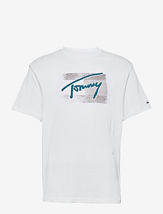 TJM FADED FLAG SCRIPT TEE - kortärmade t-shirts - white