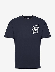 TJM TOMMY REPEAT SCRIPT TEE - kortärmade t-shirts - twilight navy