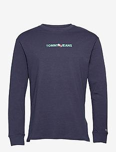 TJM VERTICAL TOMMY LOGO TEE - långärmade t-shirts - twilight navy