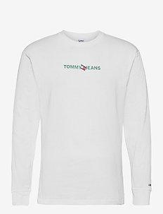 TJM VERTICAL TOMMY LOGO TEE - långärmade t-shirts - white