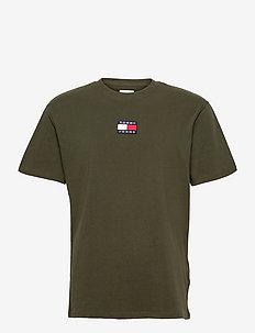 TJM TOMMY BADGE TEE - kortärmade t-shirts - dark olive