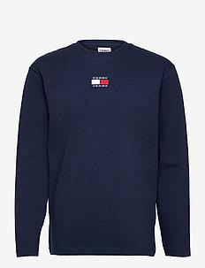 TJM LS TOMMY BADGE TEE - långärmade t-shirts - twilight navy