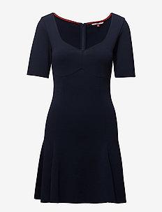 TJW FITFLARE SHORTSLEEVE DRESS - BLACK IRIS