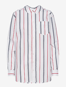 TJW STRIPE NECK DETAIL SHIRT - SAMBA/ BRIGHT WHITE/BLACK IRIS