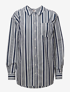 TJW STRIPE NECK DETAIL SHIRT - BLACK IRIS / BRIGHT WHITE