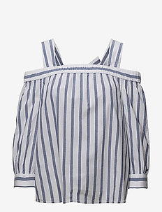 TJW OFF SHOULDER BLOUSE - BLUE PRINT / BRIGHT WHITE